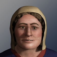 image shows the reconstructed face from a female skeleton