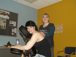 Pic shows student Rachael Doherty receiving a Shiatsu massage from Michelle O'Neill.