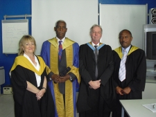 attached picture shows from Left:  Prof Margaret Smith, Dr Andom Ogbamariam, Mr Mike Naulty, Mr Menghestab Gaim
