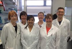 picture shows the DSTT researchers who generated the enzymes, left to right, Samantha Raggett, Carla Baillie, Shabana Anwar-Topping, Susan Finn, Hilary McLauchlan and James Hastie